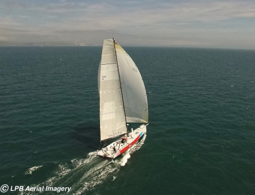 Helicopter shot of Steve White sailing his Volvo 70